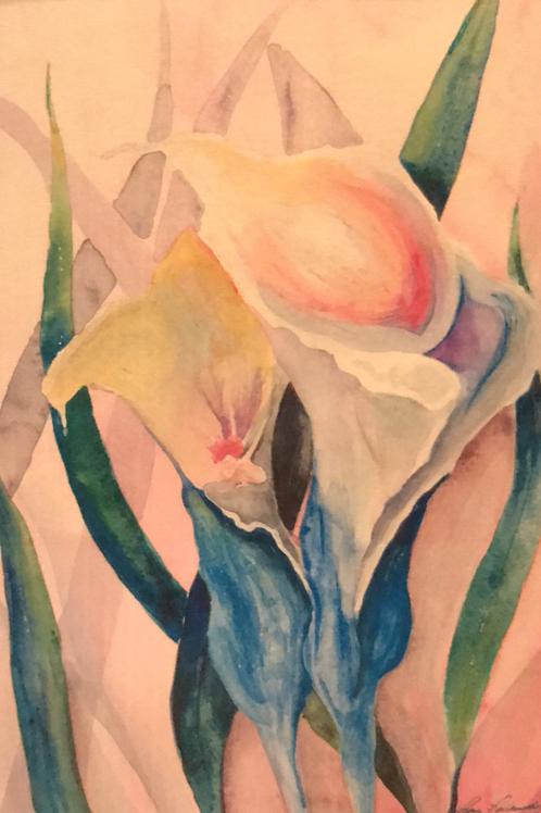 """SLIDING FAIRY"" Watercolor by Shery Polansky HIDDEN FAIRY SERIES"