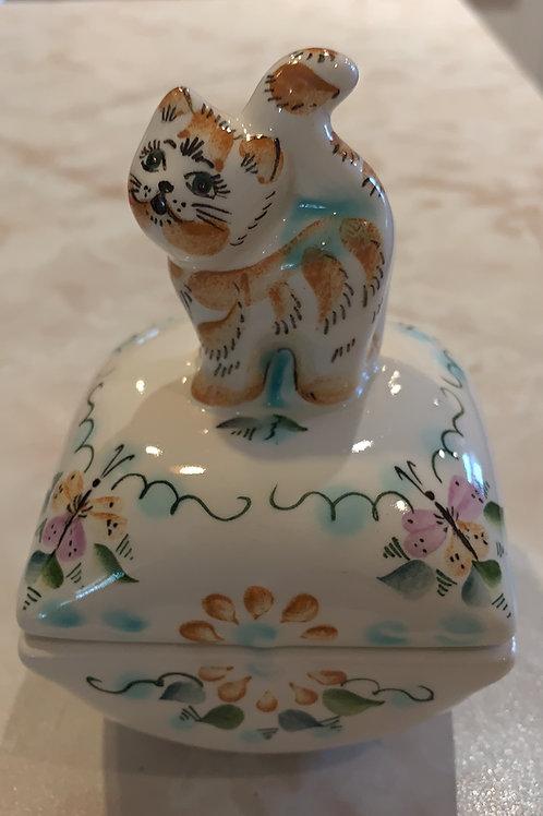 tabby trinket box, cute, artist painted, vietnamese?