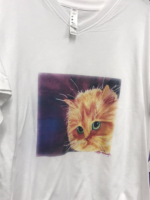 cat art, wearable art, yellow cat on shirt