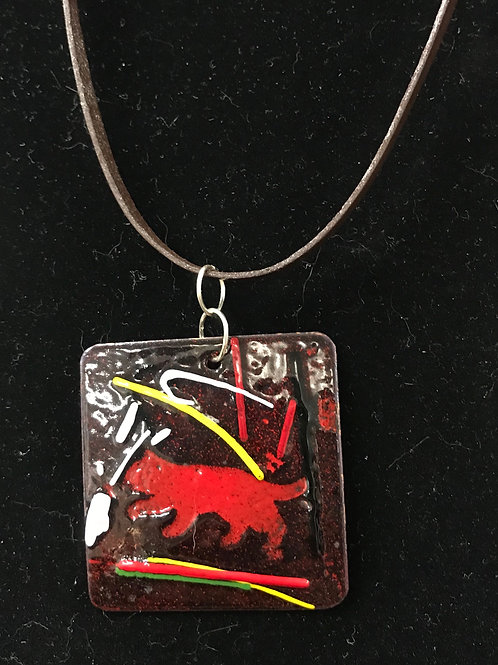 Enameled Glass Red Cat Pendant by Tannis