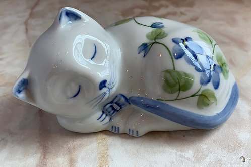 Andrea Kitten, Floral Kitten, Hand Painted Ceramic Cat