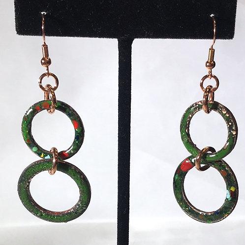 Enameled Copper Festive Green Earrings by Tannis