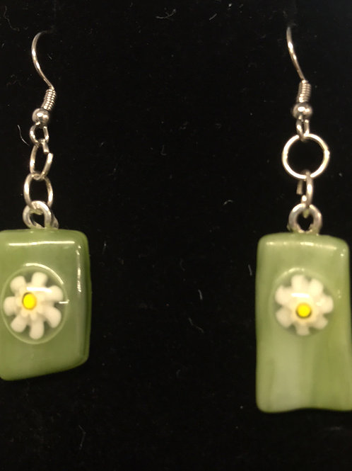 Fused Glass Flowers Green Earrings by Tannis