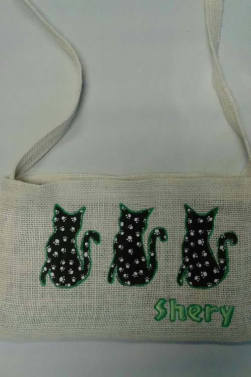 Monogrammed Upcycled Coffee Bean Burlap Bag - CAT
