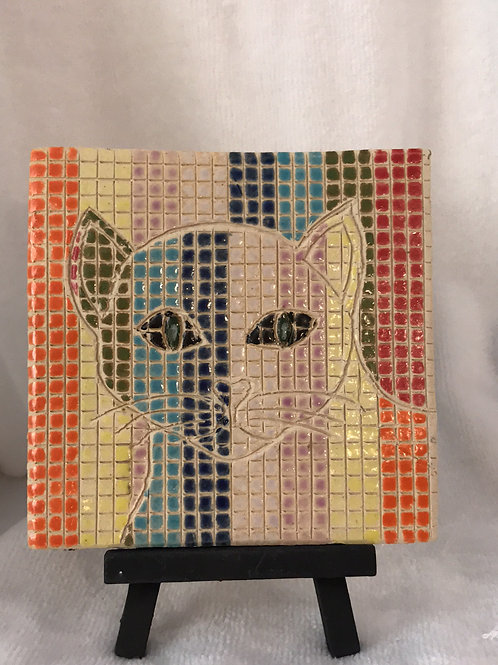 easel cat; pottery cat tile; checkered cat