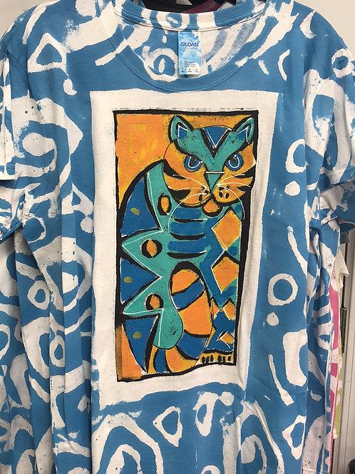 whimsy cat shirt, hand painted cat shirt, thick cat shirt