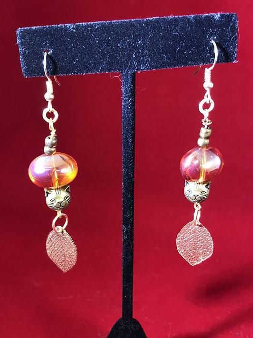 amber cat, amber earrings, elegant cat,  amber elegance