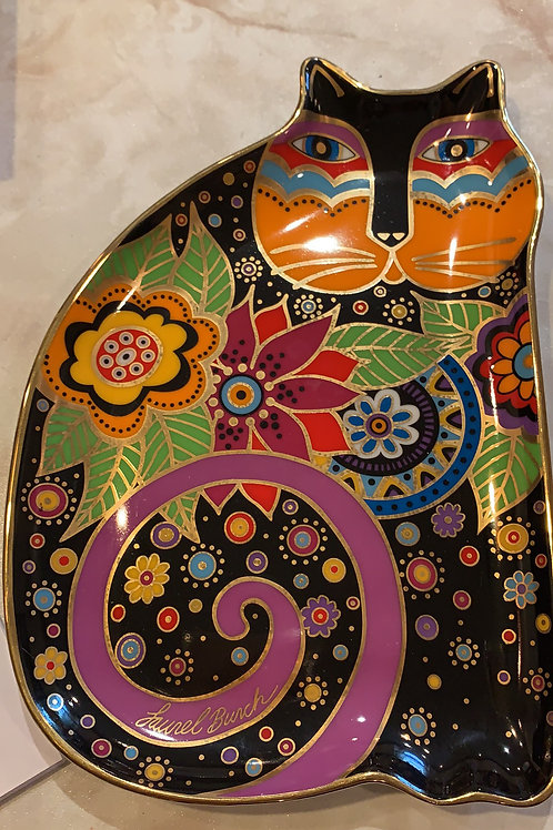 laurel burch, whimsy cat plate, heirloom collectors plate, cat, royal doulton, franklin mint, tea party cat 14kt gold trim