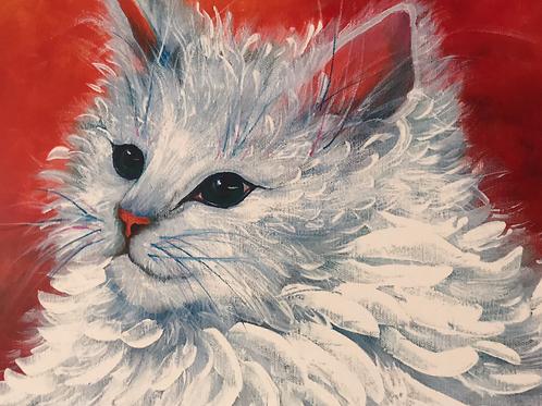 """""""WHITE CAT"""" Acrylic by Shery Polansky"""