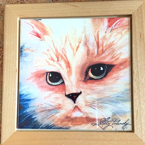 cat trivet, yellow cat hot plate, kitchen cat decor, large coaster