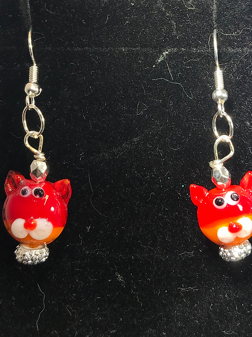 CATS GLASS CAT EARRINGS- RED