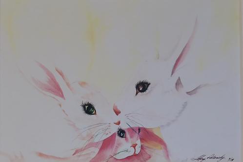 """BUNNY FAMILY"" Watercolor by Shery Polansky"