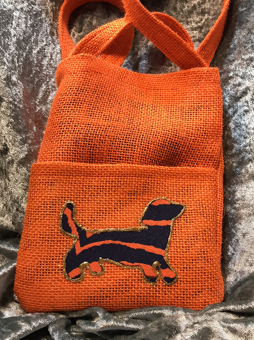 Auburn Dachshund Orange Burlap Side Bag
