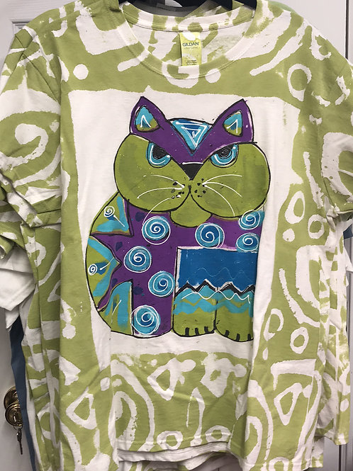 whimsy cat shirt, hand painted cat shirt, thick cat shirt