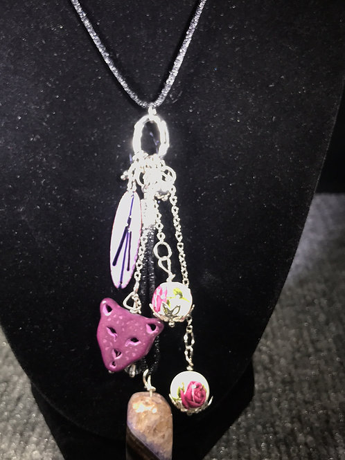 Cat Collage Necklace by Tannis