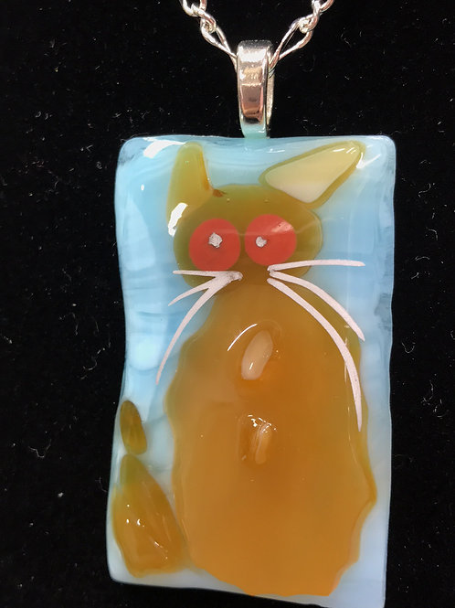 Fused Glass Cat Necklace by Tannis