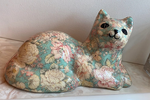 Fabric Cat; Teal and Peach Cat; Decoupage Cat