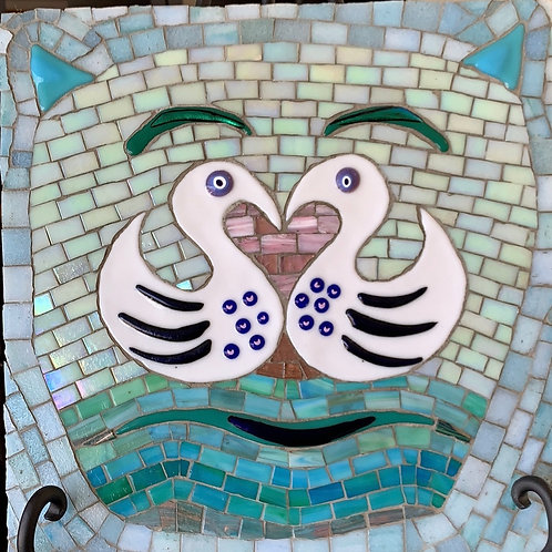 fused mosaic cat, duck love, duck cat