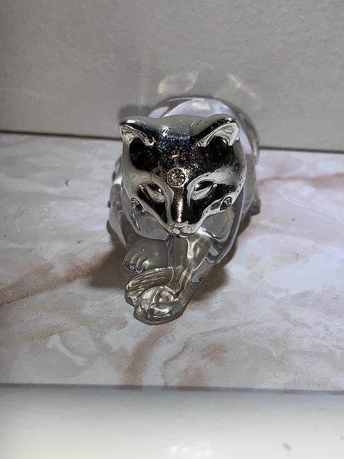 rhinestone and silver cat; silver fox cat
