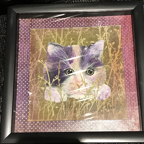 COLLAGE CAT IN GRASS ORIGINAL BY JACQUELINE BROWN
