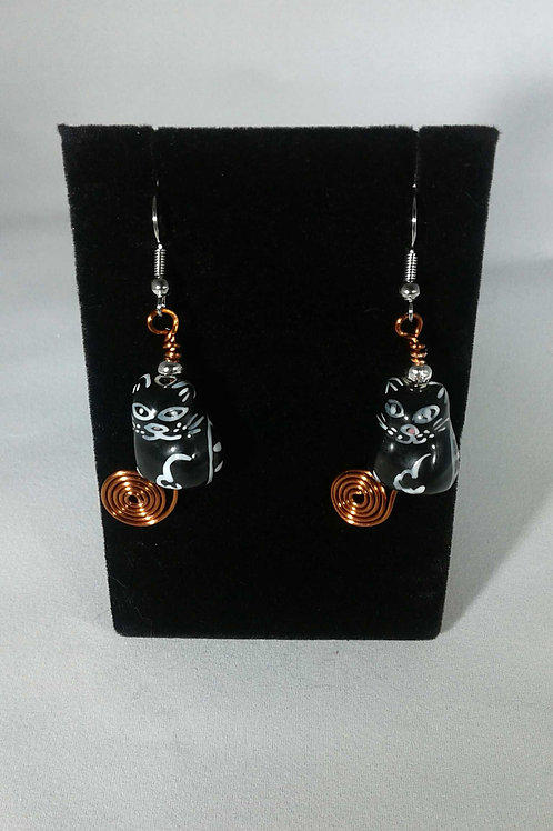 CATS Black Glass Bead Earrings w/ Copper Spiral