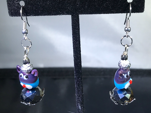 CATS GLASS CAT EARRINGS- Purple and Blue