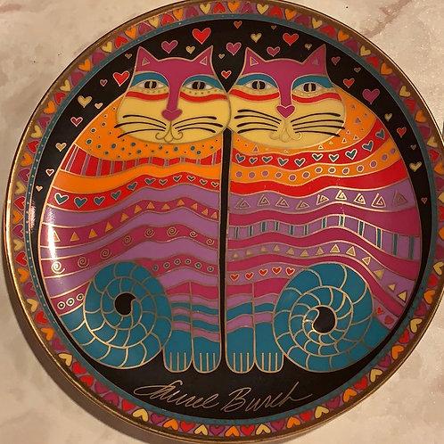laurel burch, whimsy cat plate, heirloom collectors plate, cat, royal doulton, franklin mint, tea party cat 14kt gold trim