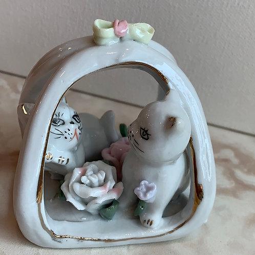 Kittens in the Roses Ceramic Figurine