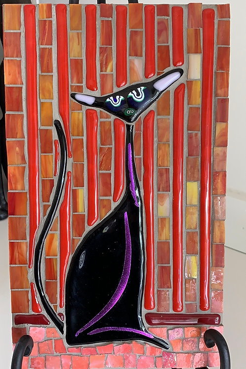 Shiny Black Cat on Red, Cat on Red, Abstract fused cat; back splash cat