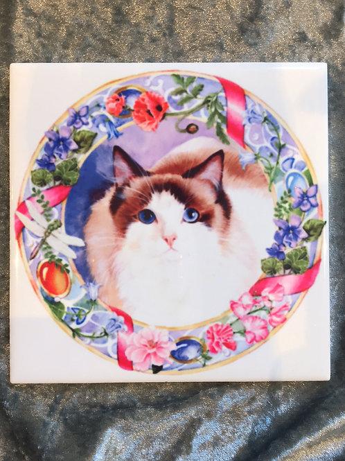 Cat Artwork on Tile RAGDOLL