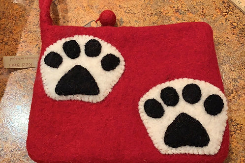red wristlet, paw print, coin purse, Nepal, Felted Wool