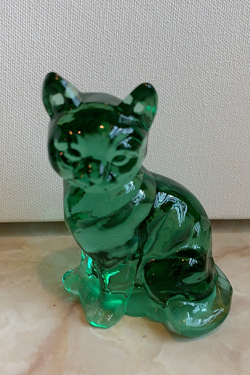 purr in green; green glass cat; perfect green