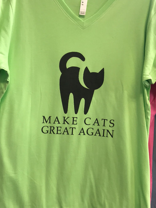 """Cats """"Make Cats Great Again"""" V-neck Tee - Green"""
