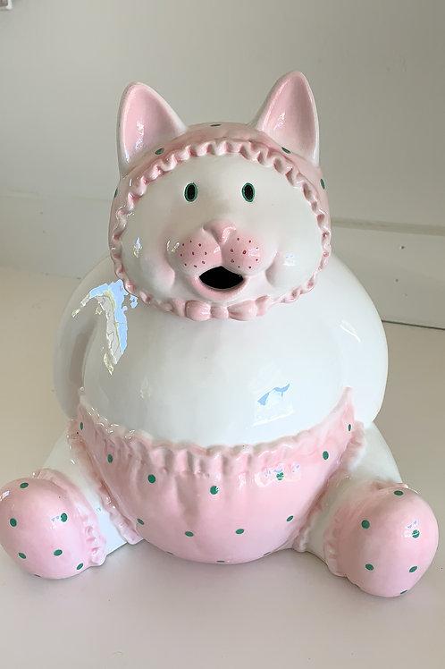 cookie jar, treat jar, baby cat in diaper, needs a pacifier