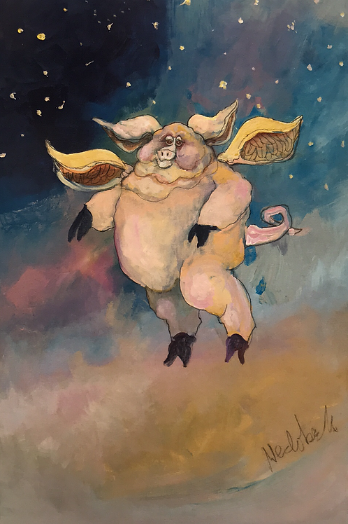"""NEDOBECK """"WHEN PIGS FLY"""" GICLEE PRINT"""