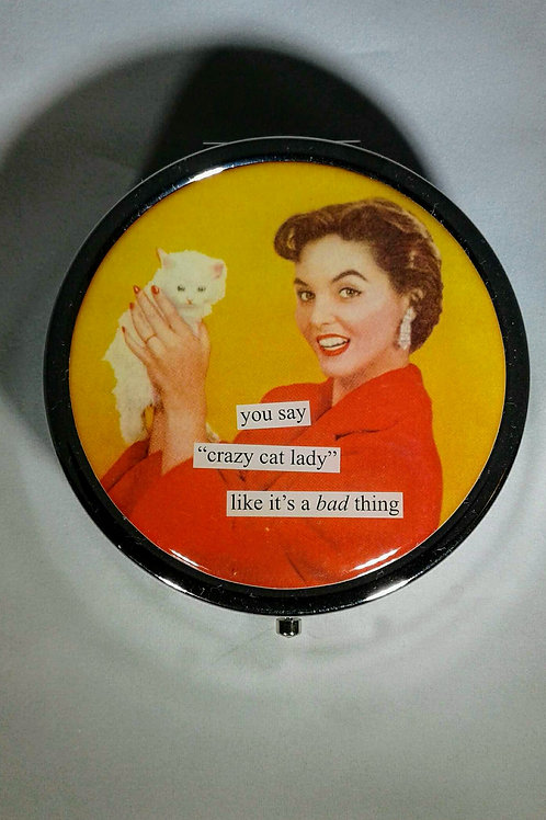 """CATS 7 Day Pill Box """"CRAZY CAT LADY"""""""
