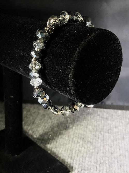 Silver Cat Glass and Crystal Bracelet