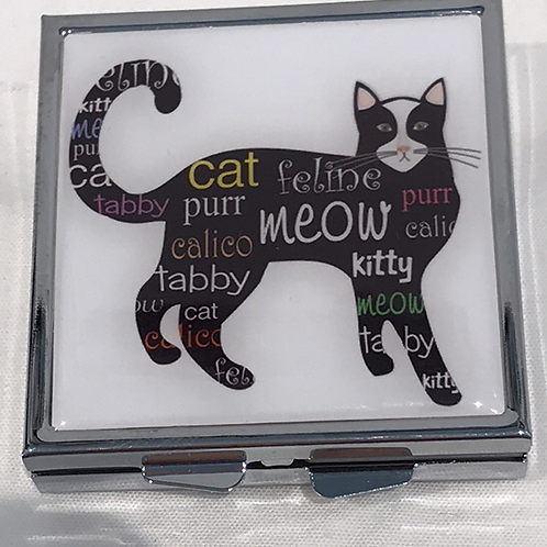 CATS PILL BOX. SQUARE BLACK
