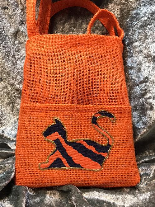 Orange Striped Auburn Cat Upcycled Burlap Side Bag