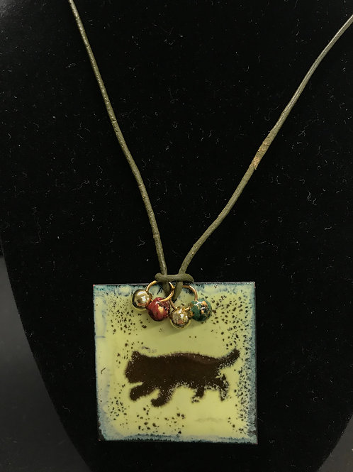 Enameled Copper Cat Pendant by Tannis