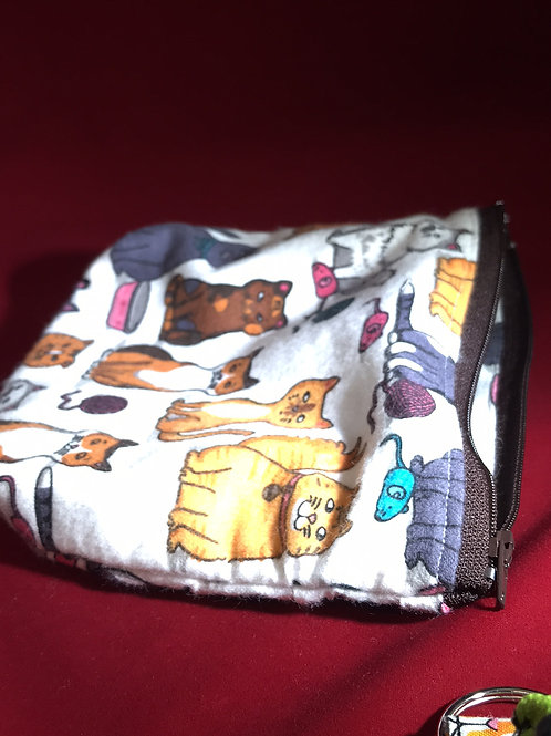 cat bag w/ laniard, cat face, flannel cat, bag w/ laniard