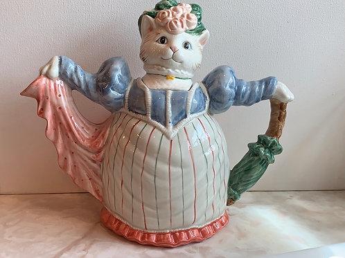 mama teapot, cat teapot, bonnet cat teapot