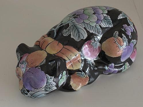 Vintage Sleeping Ceramic Cat- Black with Fruit Pattern