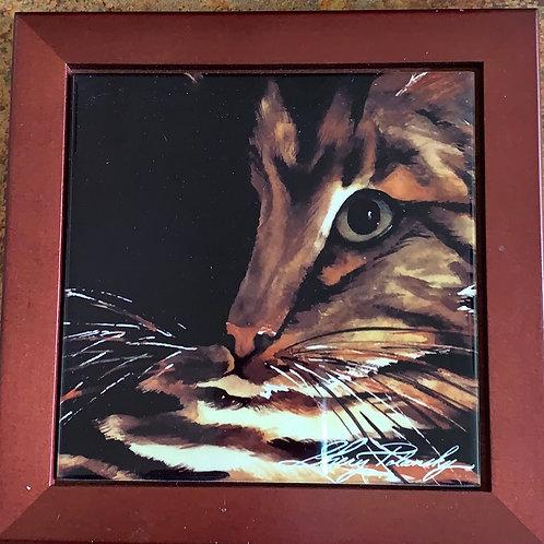 cat trivet, tabby cat hot plate, kitchen cat decor, large coaster