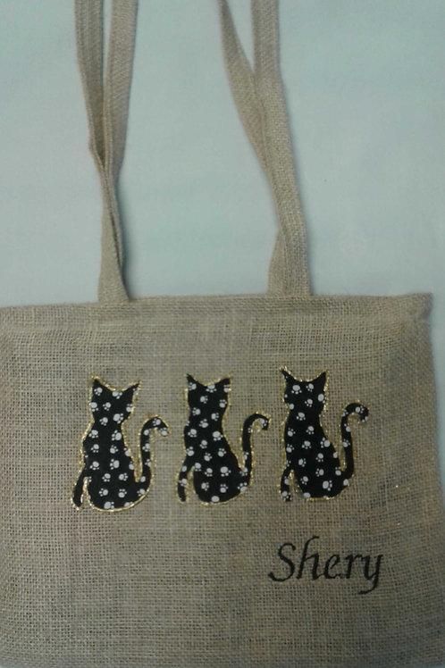 Monogrammed Upcycled Coffee Bean Burlap Bag
