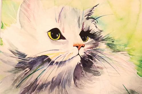"""""""FLUFFY"""" Watercolor by Shery Polansky"""