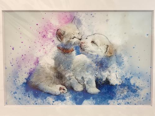 LISI  PRINT - kitten with puppy
