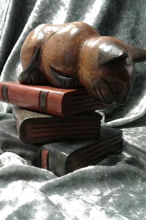Cat Sitting on Books Carved Wooden Sculpture