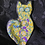 ultimate caning, zany cat, psychedelic cat pin cat jewelry, sculpted cat
