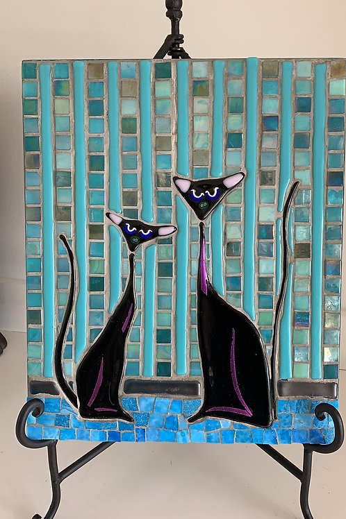 two black cats on turquoise; black pair, black glass, fused cat